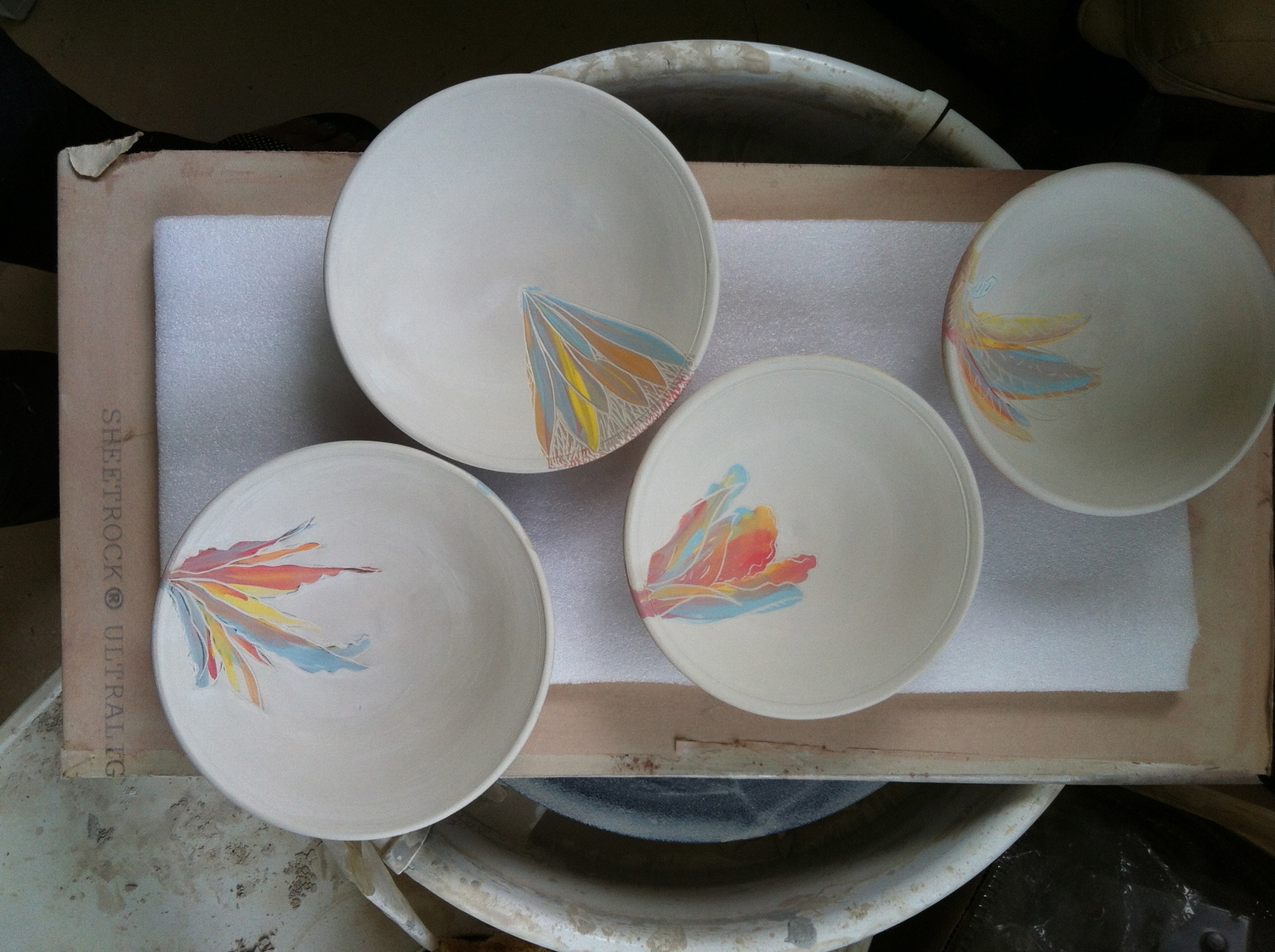 Inside each bowl is an accent that echoes the spirit of the exterior.