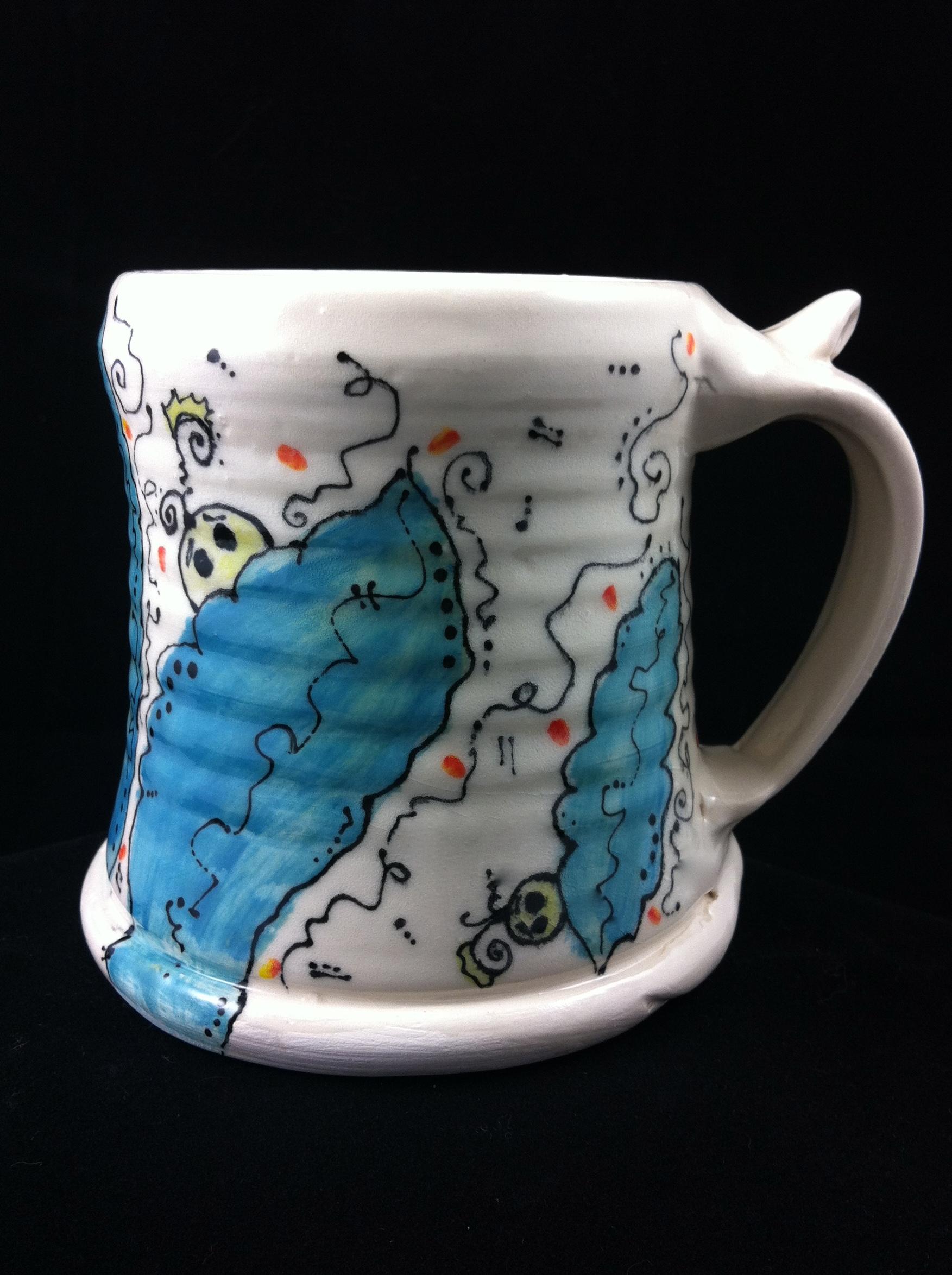 """""""Tingum In Da Bush"""" -- Wheel thrown mug by Lisa Codella."""