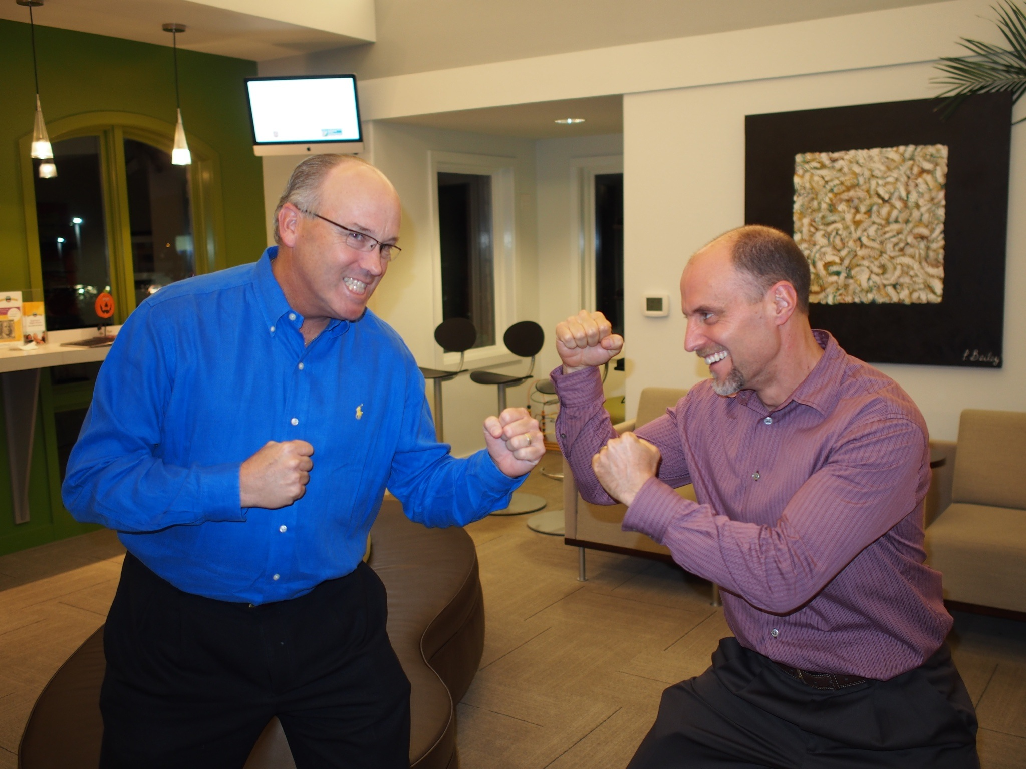 TOSC Members Dr. Colville and Dr. Salome demonstrate their desire to win The Great Debate at the next TOSC Annual Meeting in Austin, Feb. 21-23. Don't miss it!