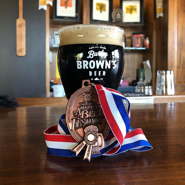 Eli and Addison brought home another Great American Beer Festival medal! Turmoil was awarded a bronze in the American-Style Black Ale category. This is the 4th GABF medal for Turmoil, and @barleybrowns 25th GABF medal.
