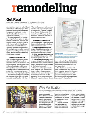 Remodeling Magazine    December 2012  BUILD LLC's construction cost cheat sheet