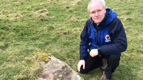 Alan Bowring discovered the stone when he was working in the Brecon Beacons (BBC photograph)