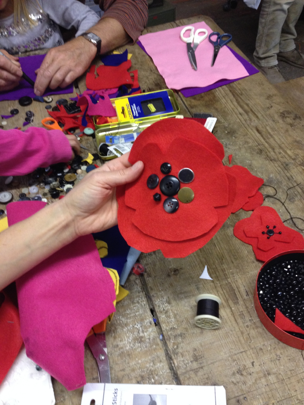 Poppies being made
