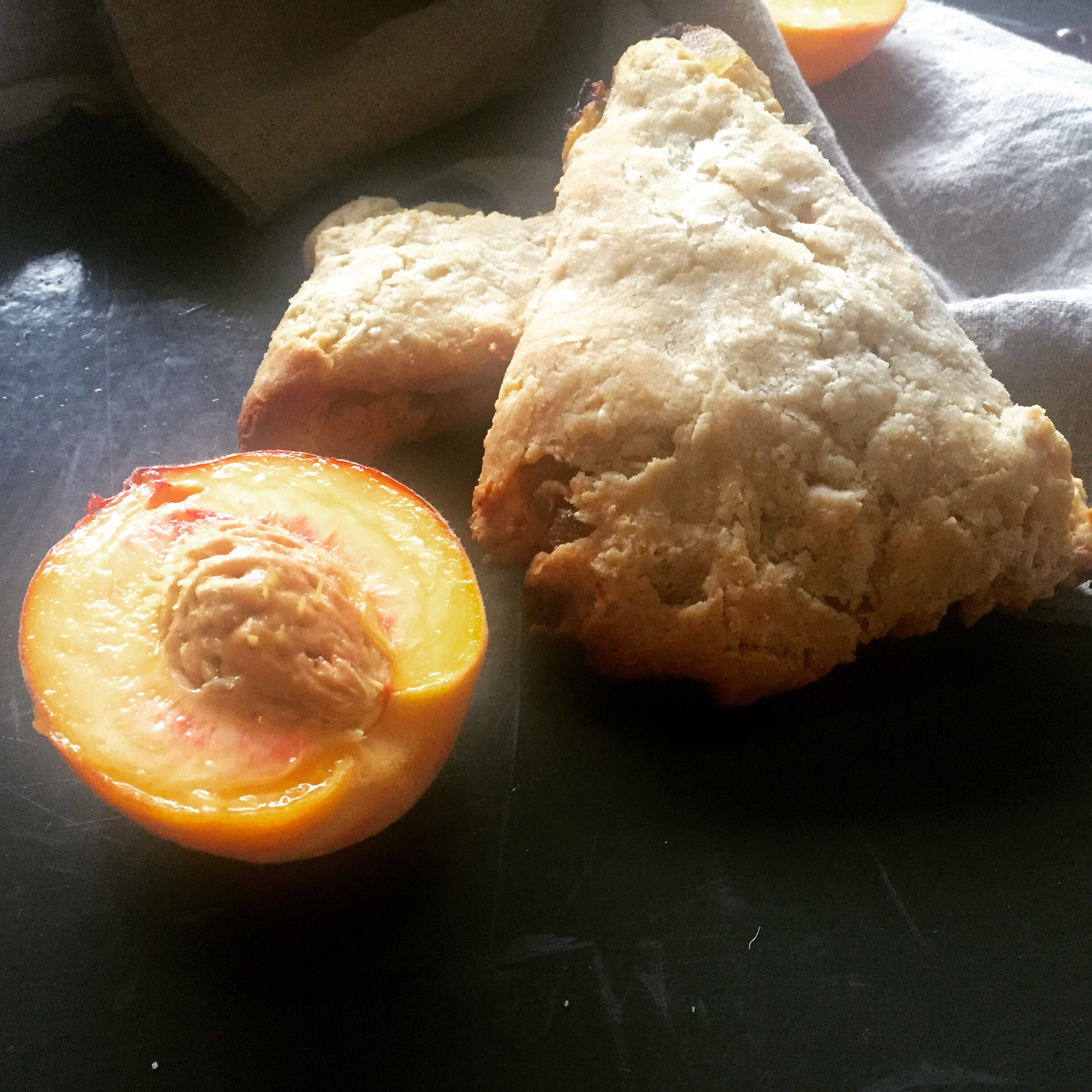 Roasted peach and ginger scones
