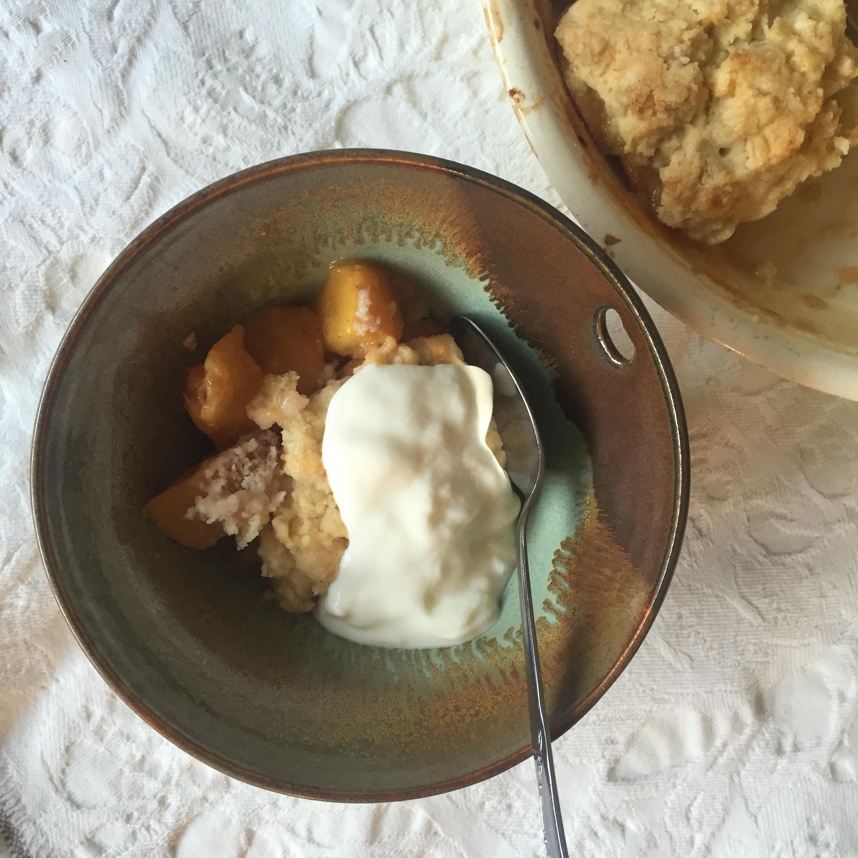 Peach Cobbler with Yogurt