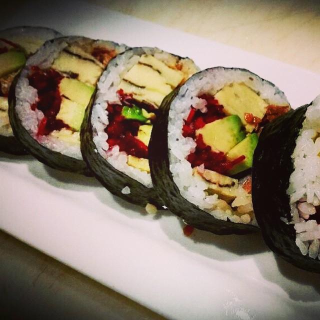 "Try the ""Crispy Salmon Skin Futo Maki"" by sushi chef Prescott: Crispy smoked salmon skin, fresh made Tamago, avocado, & beets #threesspecials #threesbarandgrill #sushiporn #live #love #surf"