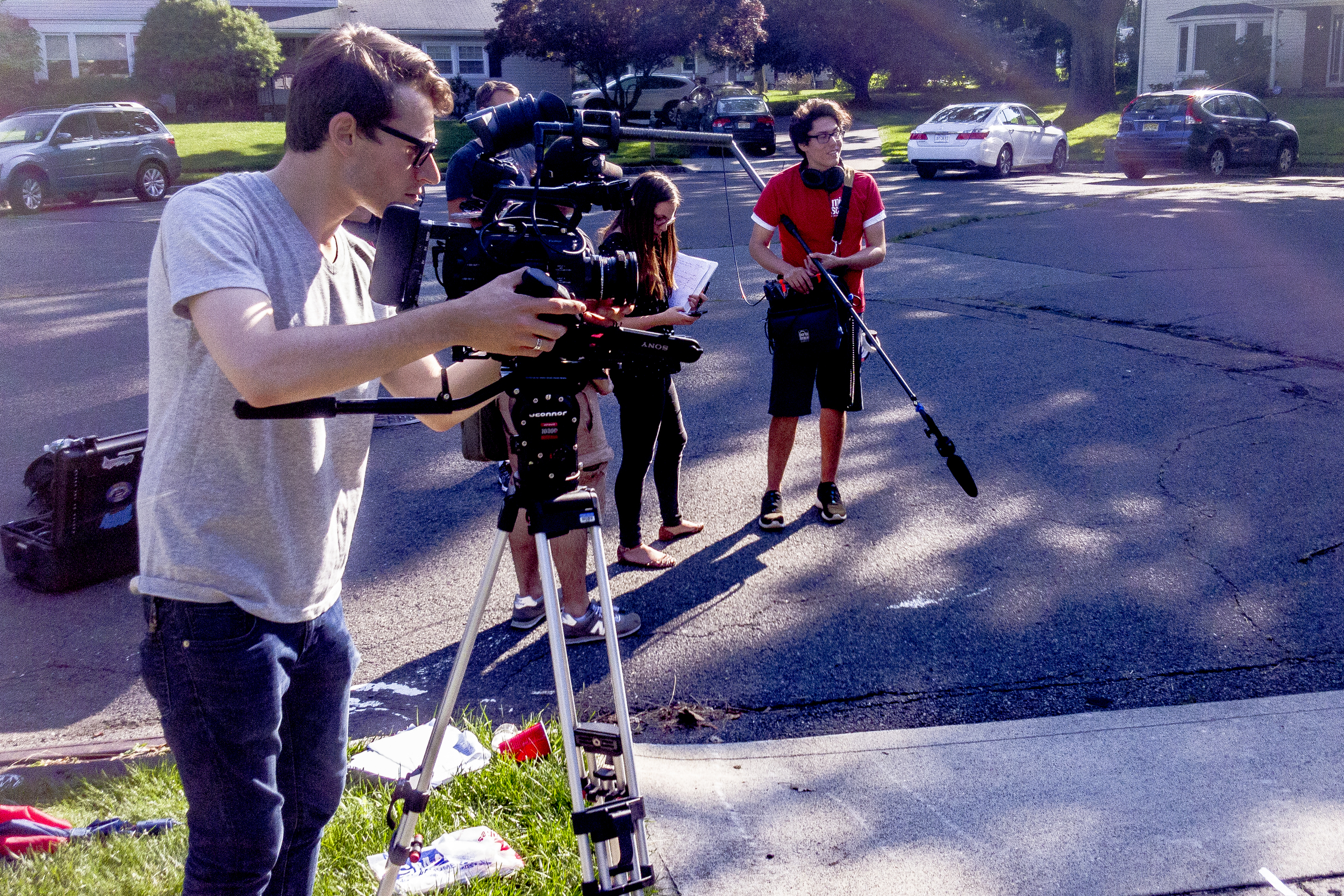 On set with the FS7.