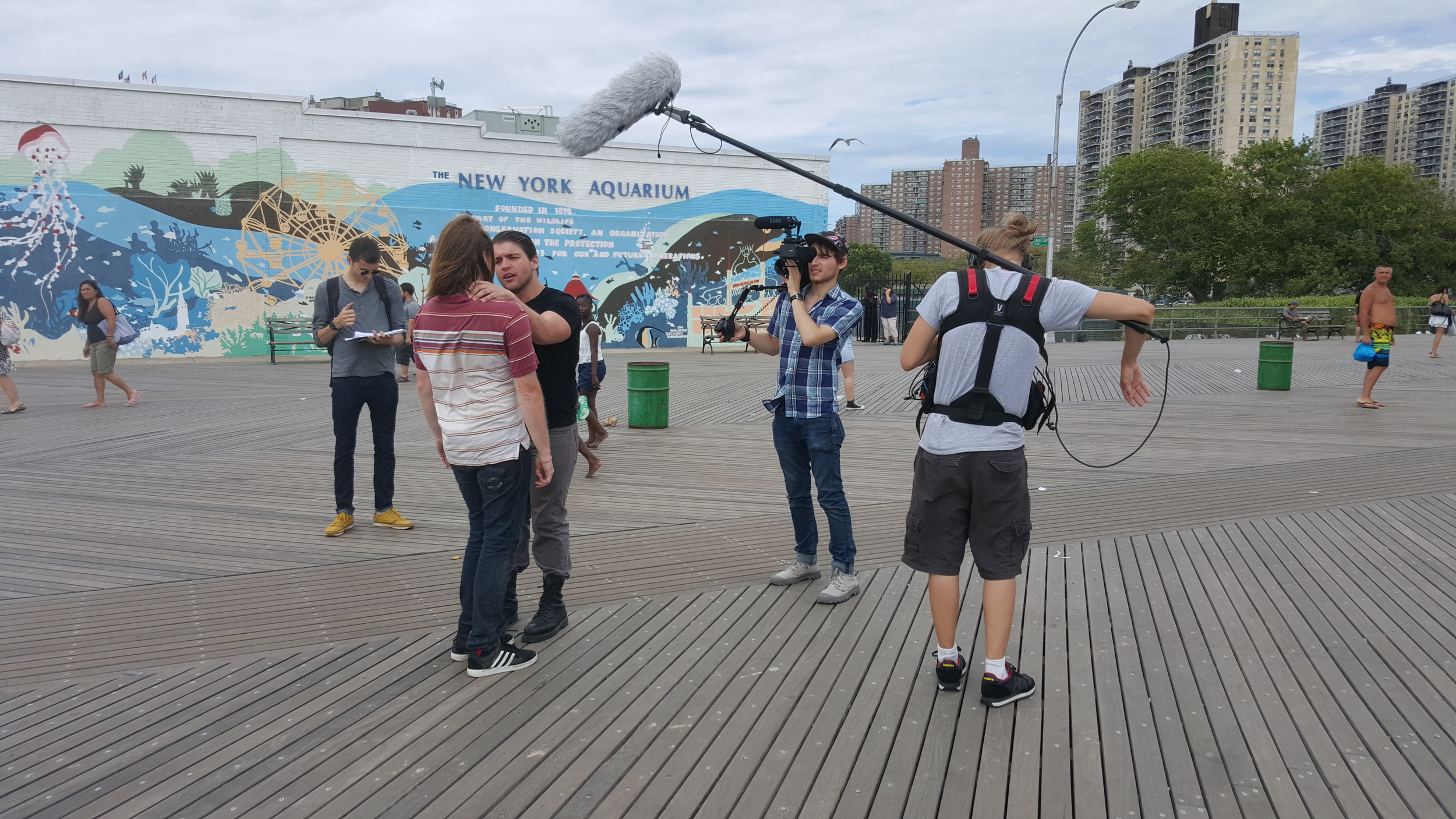 Our amazing team.From left to right: Dom (Producer), Russell (Ricky), Kevin (Charles), Adam (Director/DP) and Nik (Sound)on set at the Coney Island Boardwalk.Photo by Hanan (Gaffer/AC)!