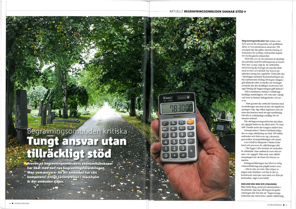 Bildkollage och text om begravningsombudens uppdrag, tidningen Kyrkogården.