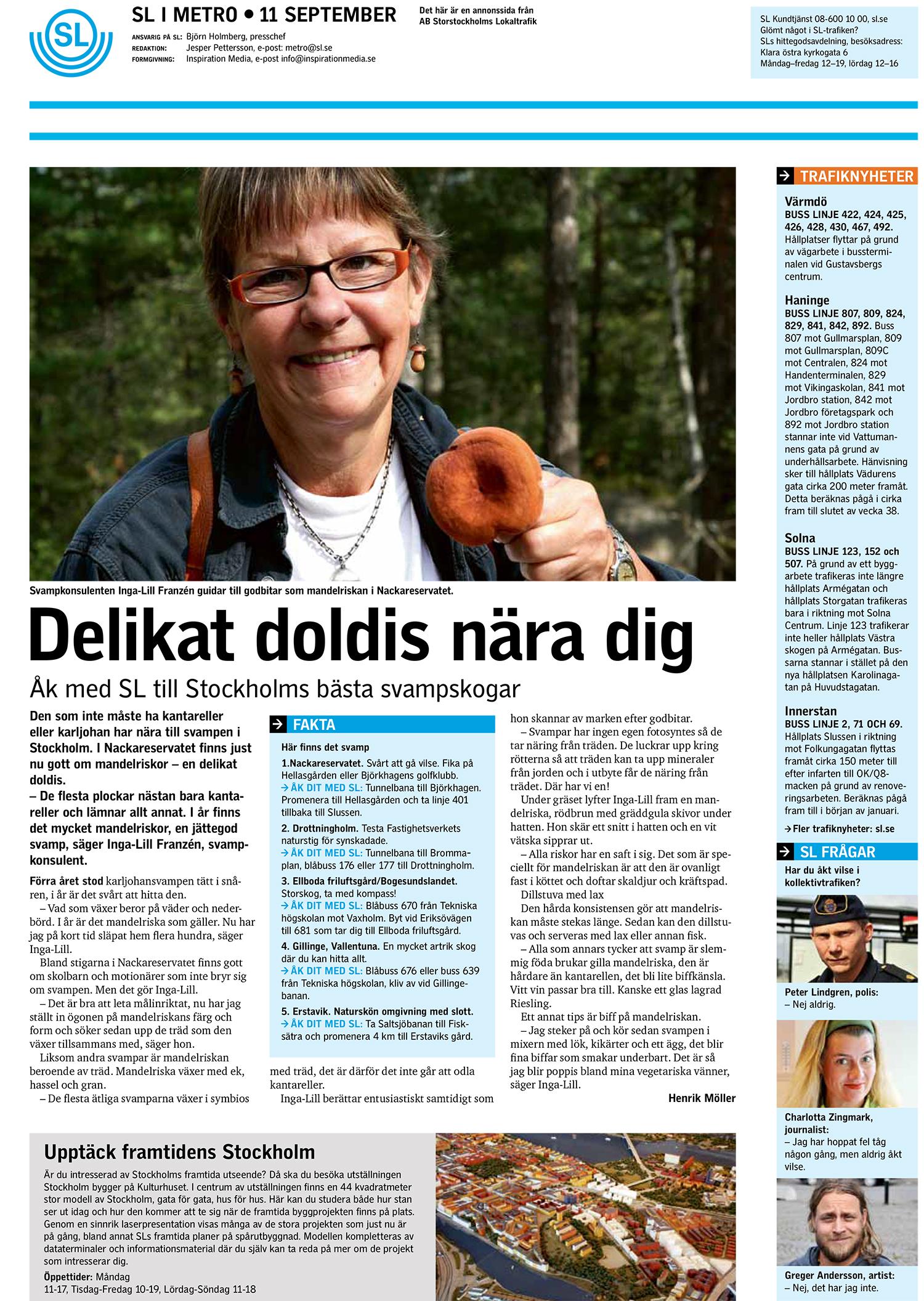 Tidningen Metro, SL:s sida. Text och bild.