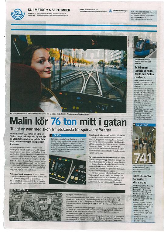Artikel i Metro om Malin som kör tvärbana. Text och bild.