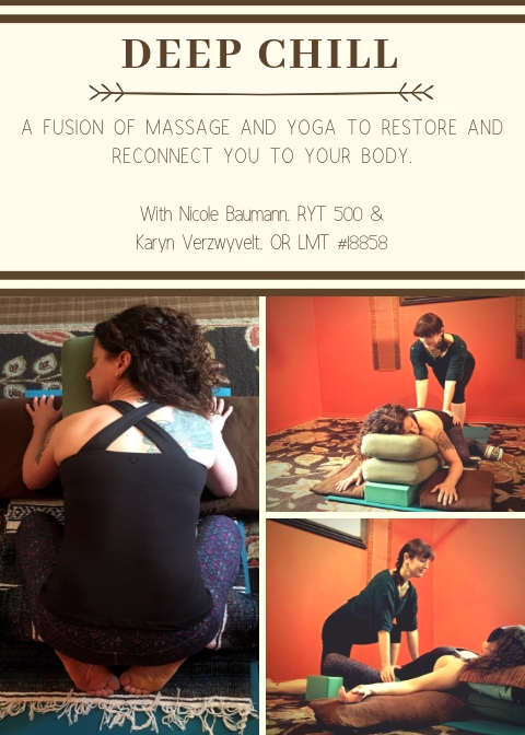 Explore the deep potential of restorative postures with the addition of hands on massage. Classes TBA in Bend and Sisters, Oregon.
