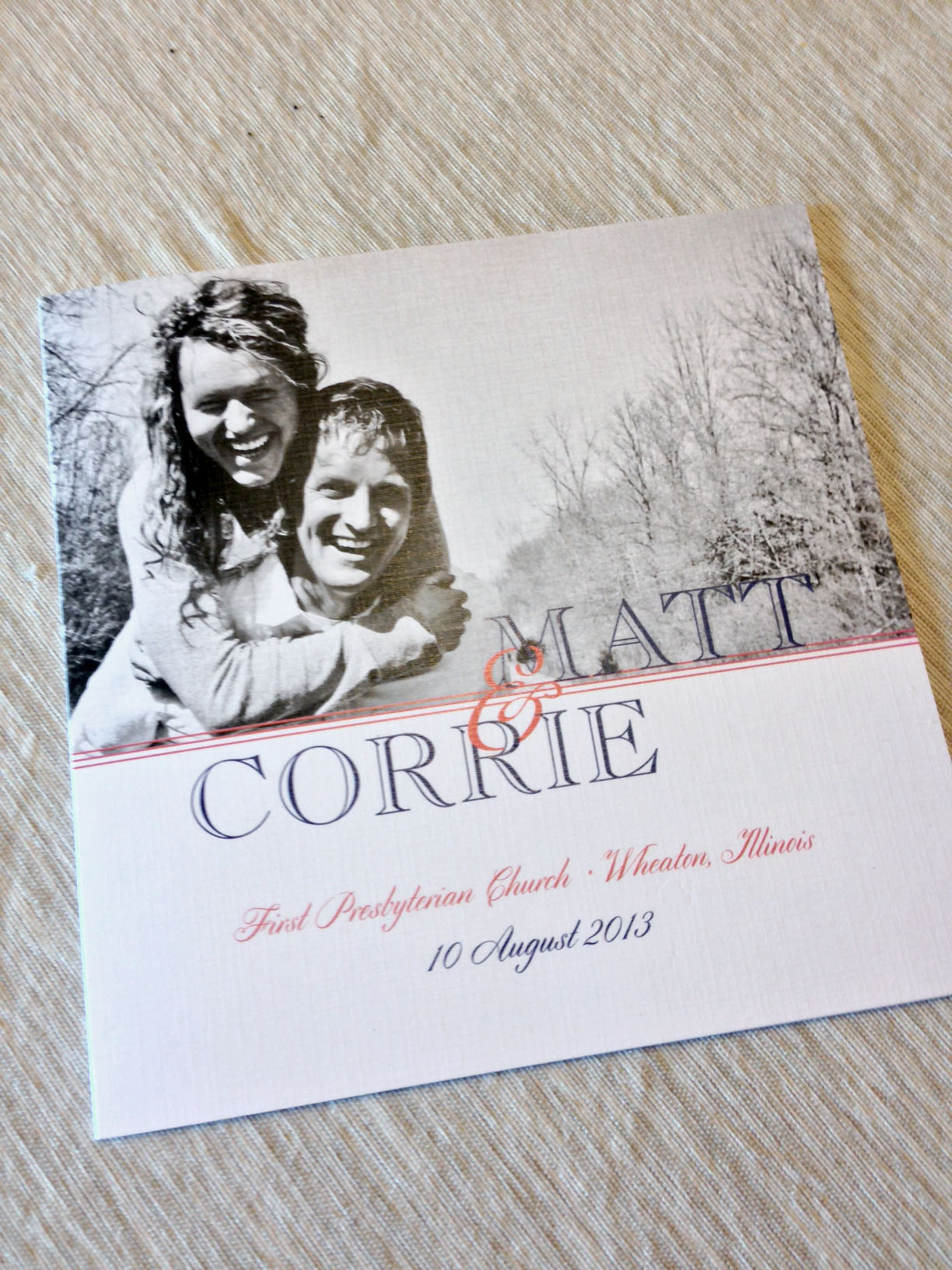Front Cover to Matt and Corrie's program.