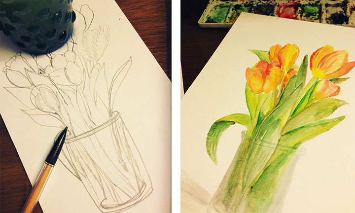 (Left) A simple Sketch of the flowers  |  (Right) Water color and Ink