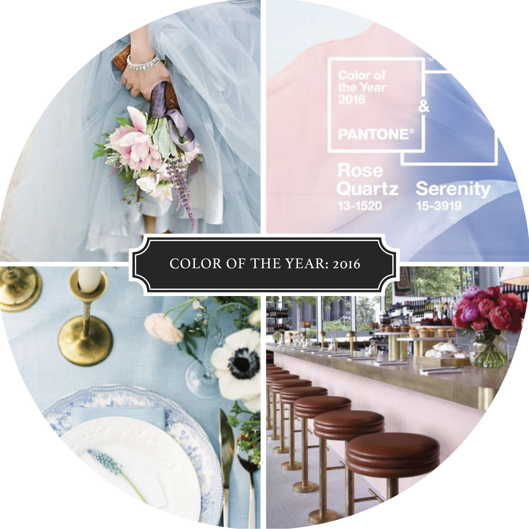 TOP:  Bouquet  |  Color of the Year   BOTTOM:  T  able Setting  |  Bar