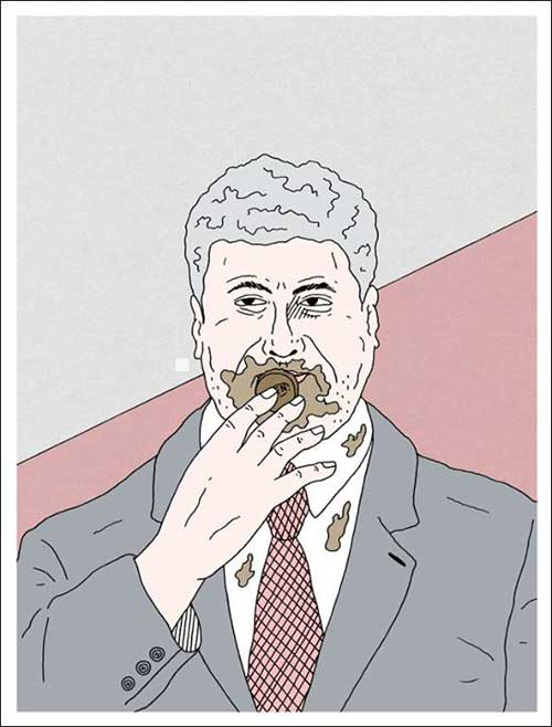 Petro Poroshenko enjoys candies from his own manufacture  , 2014, by Vitaly Yankovy  via The Arts Newspaper