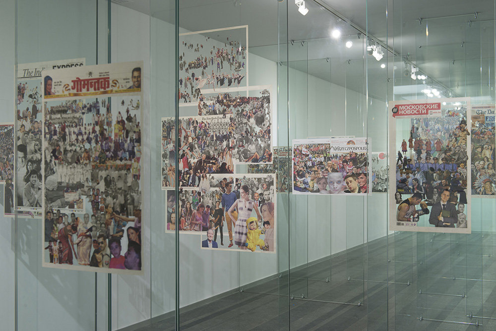 Zhanna Kadyrova - Crowd, 2012 – 2013, installation: glass, collages of newspapers, co-produced by PinchukArtCentre