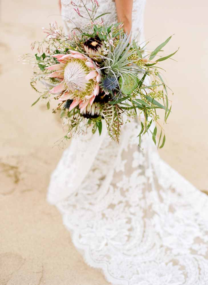 kind protea bridal bouquet  by Passion Roots | Austin Gros Wedding photography | Oahu, Hawaii