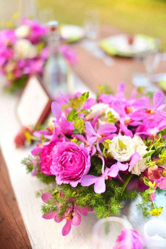 tropical bright pink centerpiece by Passion Roots | Oahu, Hawaii
