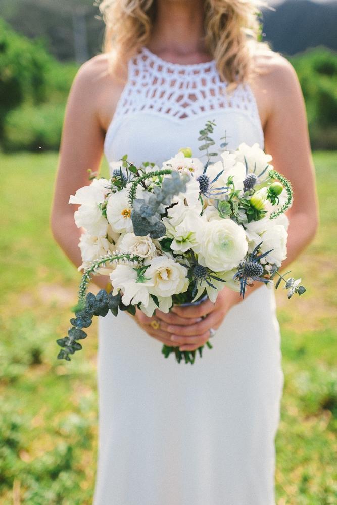 blue, green boho bouquet by Passion Roots | Kate Ignatowski Photography | Oahu, Hawaii