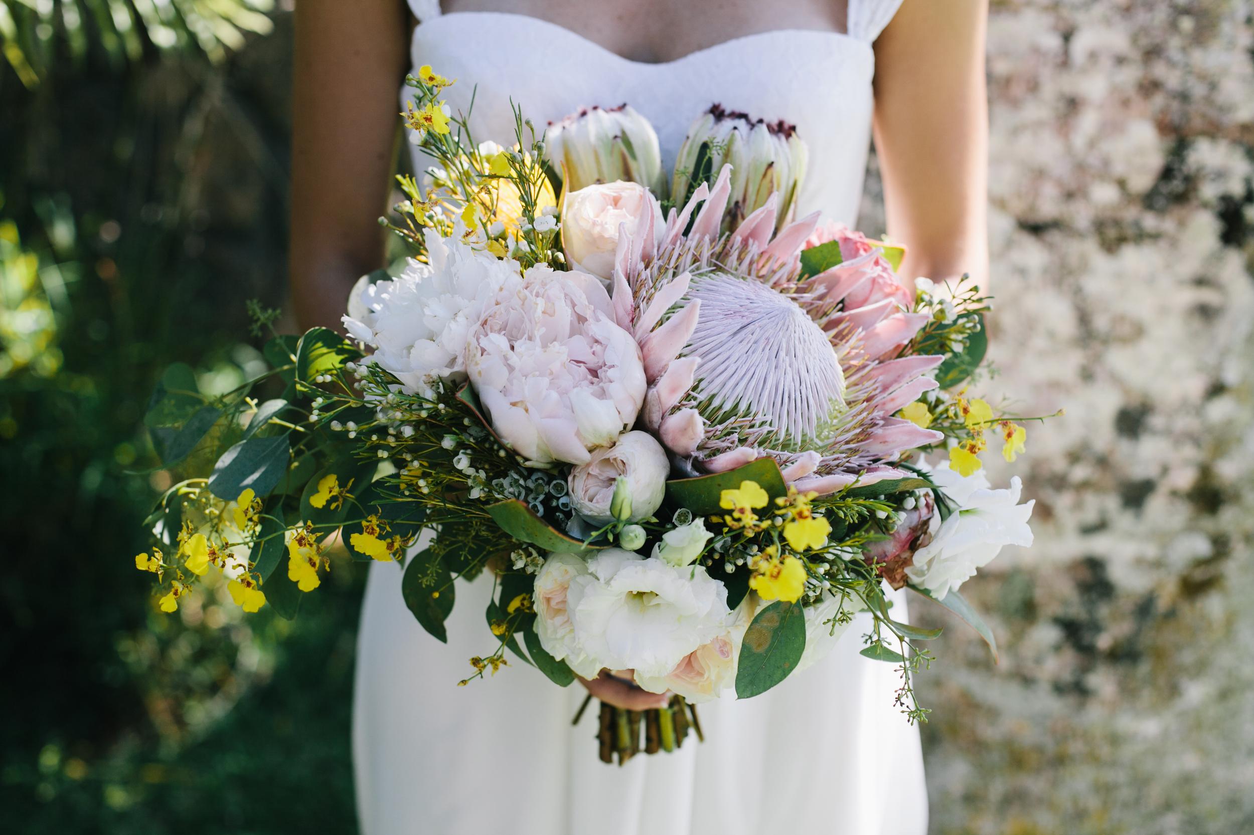 protea tropical boho bouquet by Passion Roots | Meghan Nicole Photography | Oahu, Hawaii