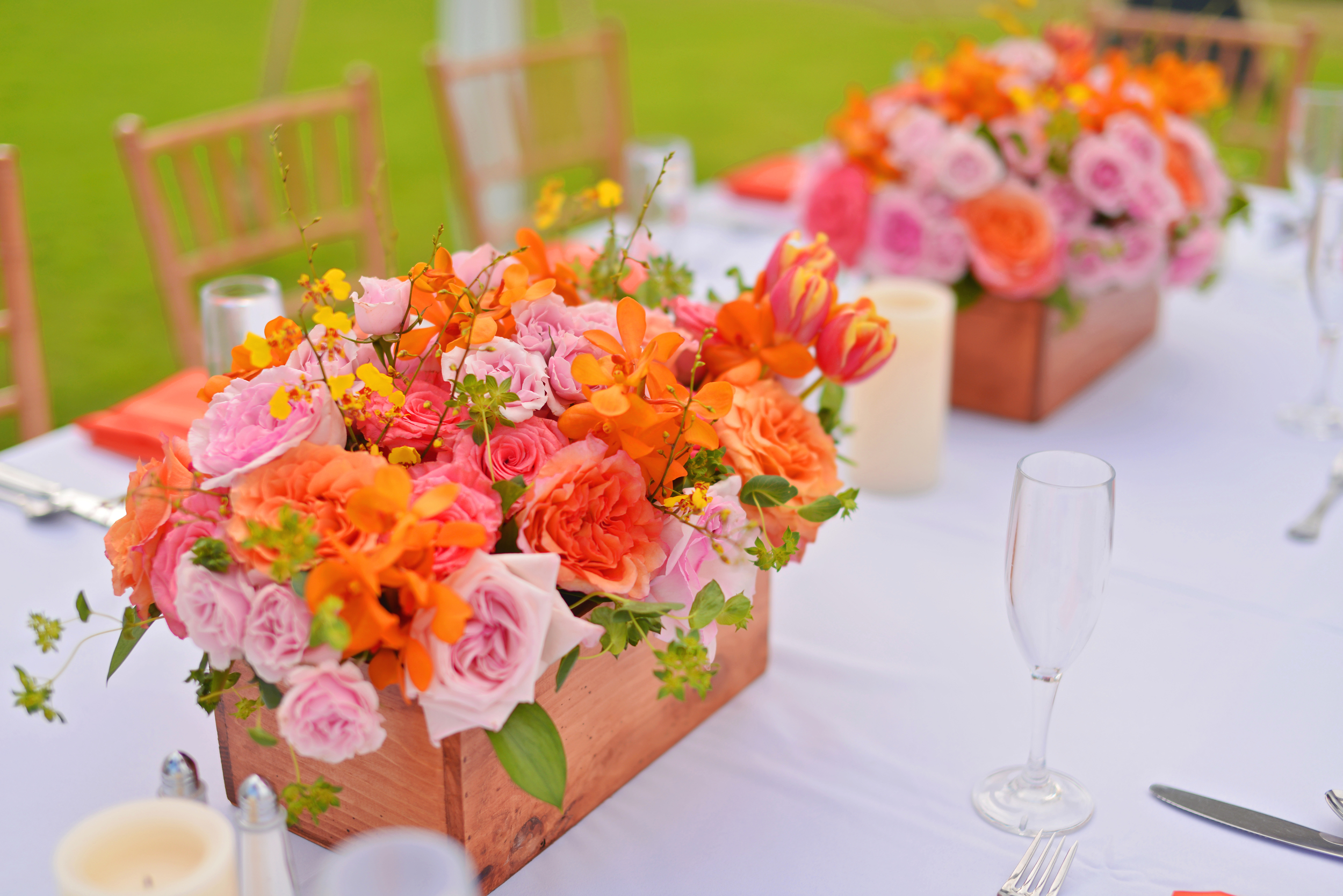 bright orange tropical centerpieces by Passion Roots | Stephen Ludwig Photography | Oahu, Hawaii