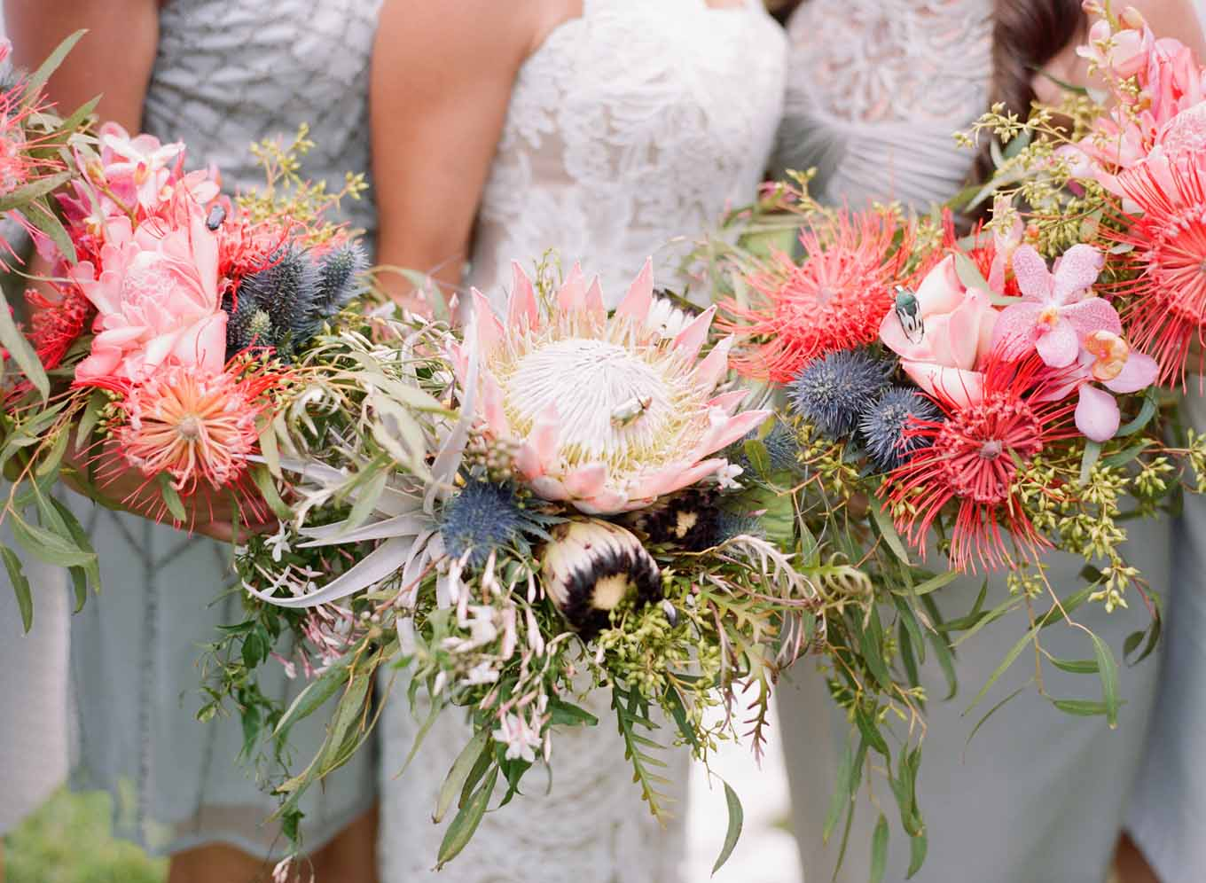 protea bouquets florals by Passion Roots | Austin Gros photography | Oahu, Hawaii
