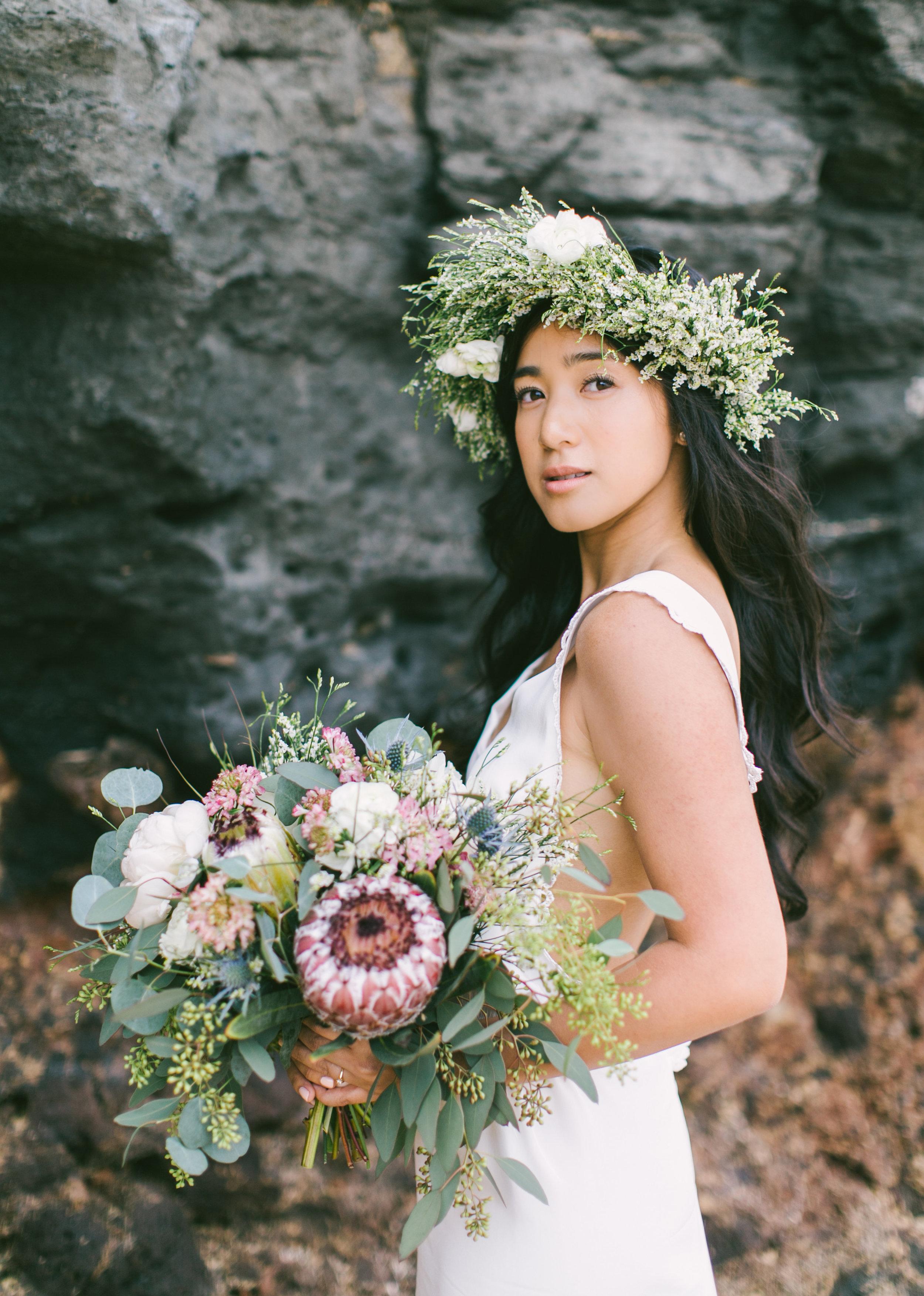 Eucalyptus Protea Bouquet by Passion Roots | Rebecca Arthurs Photography | Oahu, Hawaii