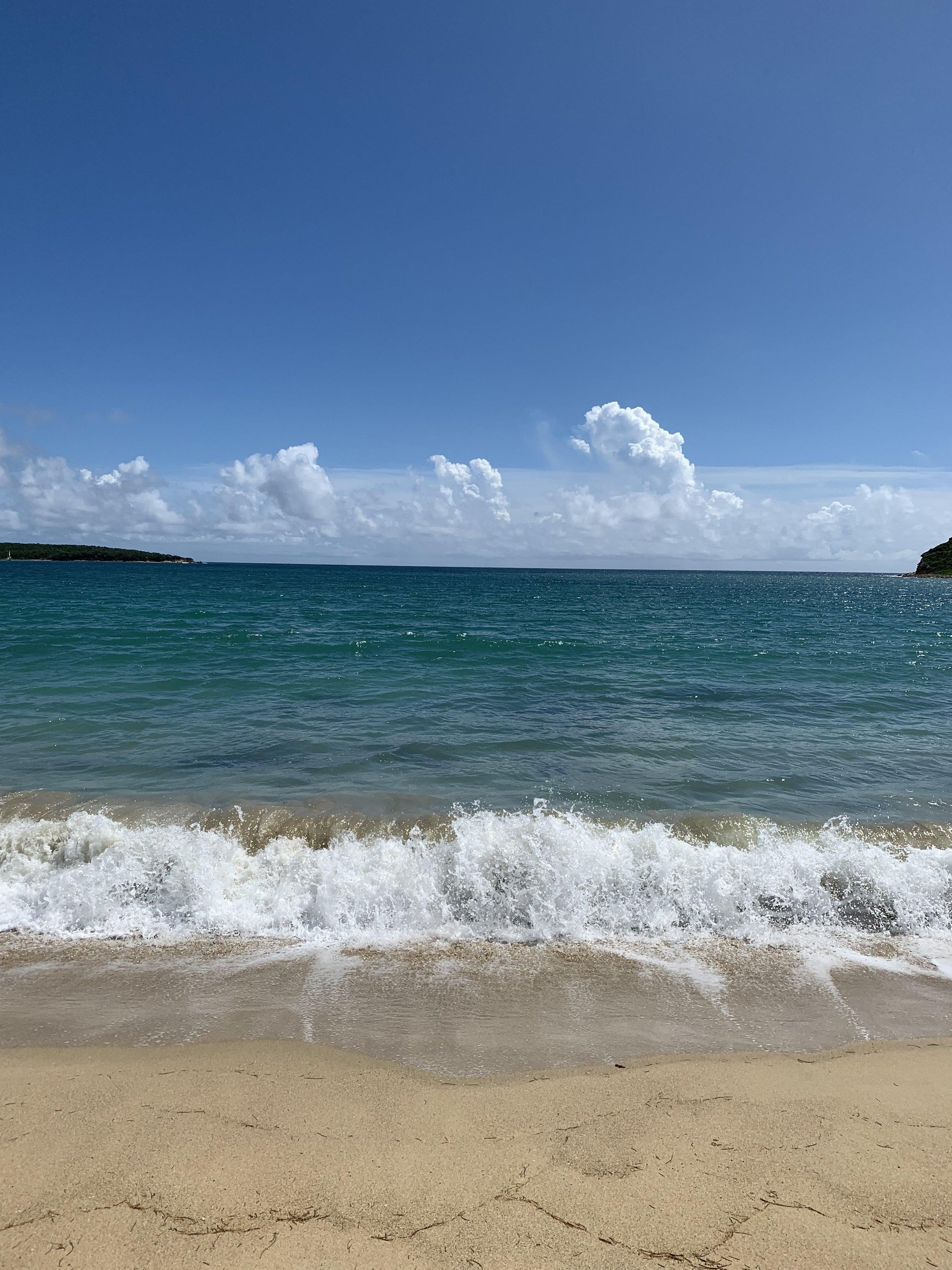 Waves breaking at Sun Bay Beach