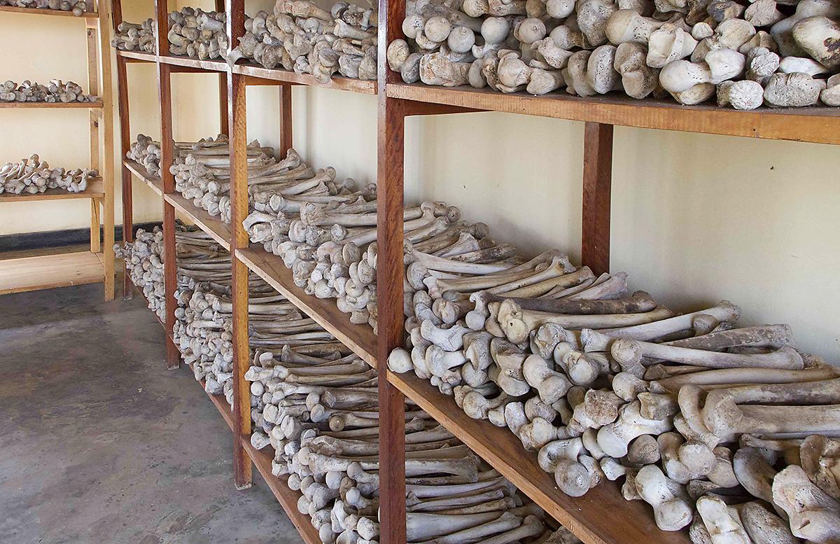 Inside the genocide memorial in Rwamagana, Rwanda