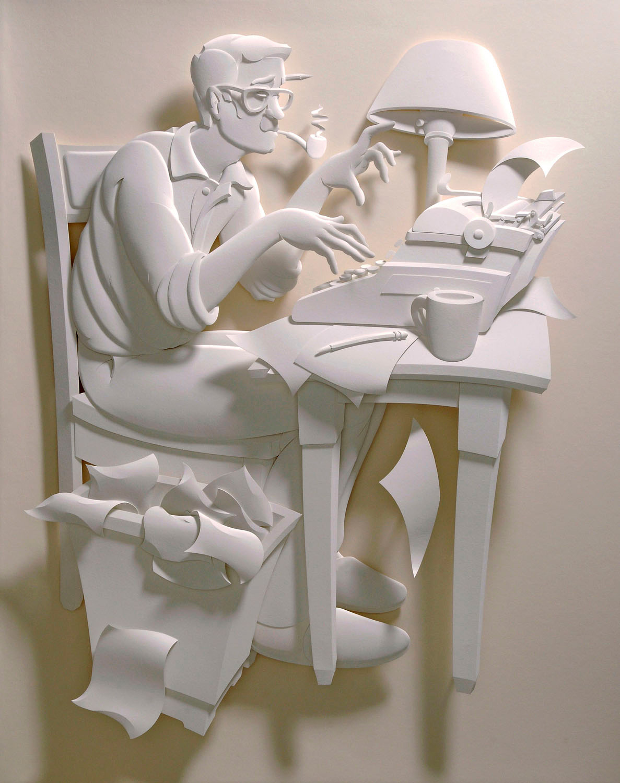 writer paper scupture
