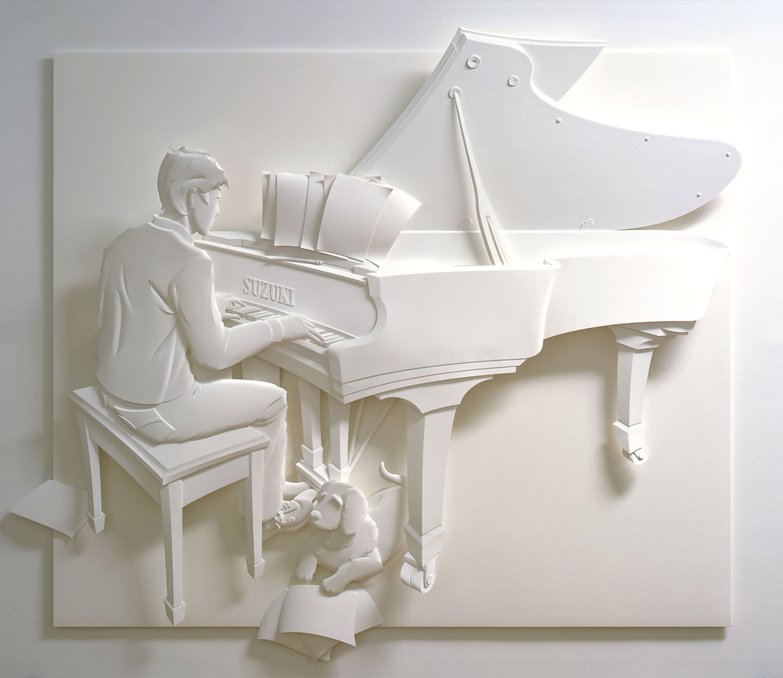 pianist paper sculpture
