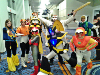 Air Man, Spark Man, Proto Man, Bass, Crash Man, Wood Man, a Metool, and Dr. Wily, all together.