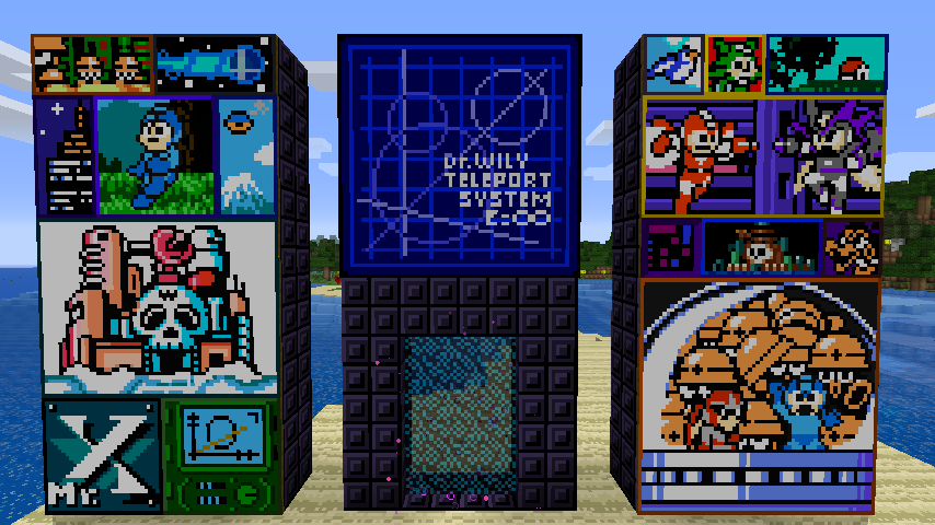 """""""Classic  Mega Man  games are known for their unique artwork. The painting in the bottom-right corner is the one I had the most fun producing."""""""