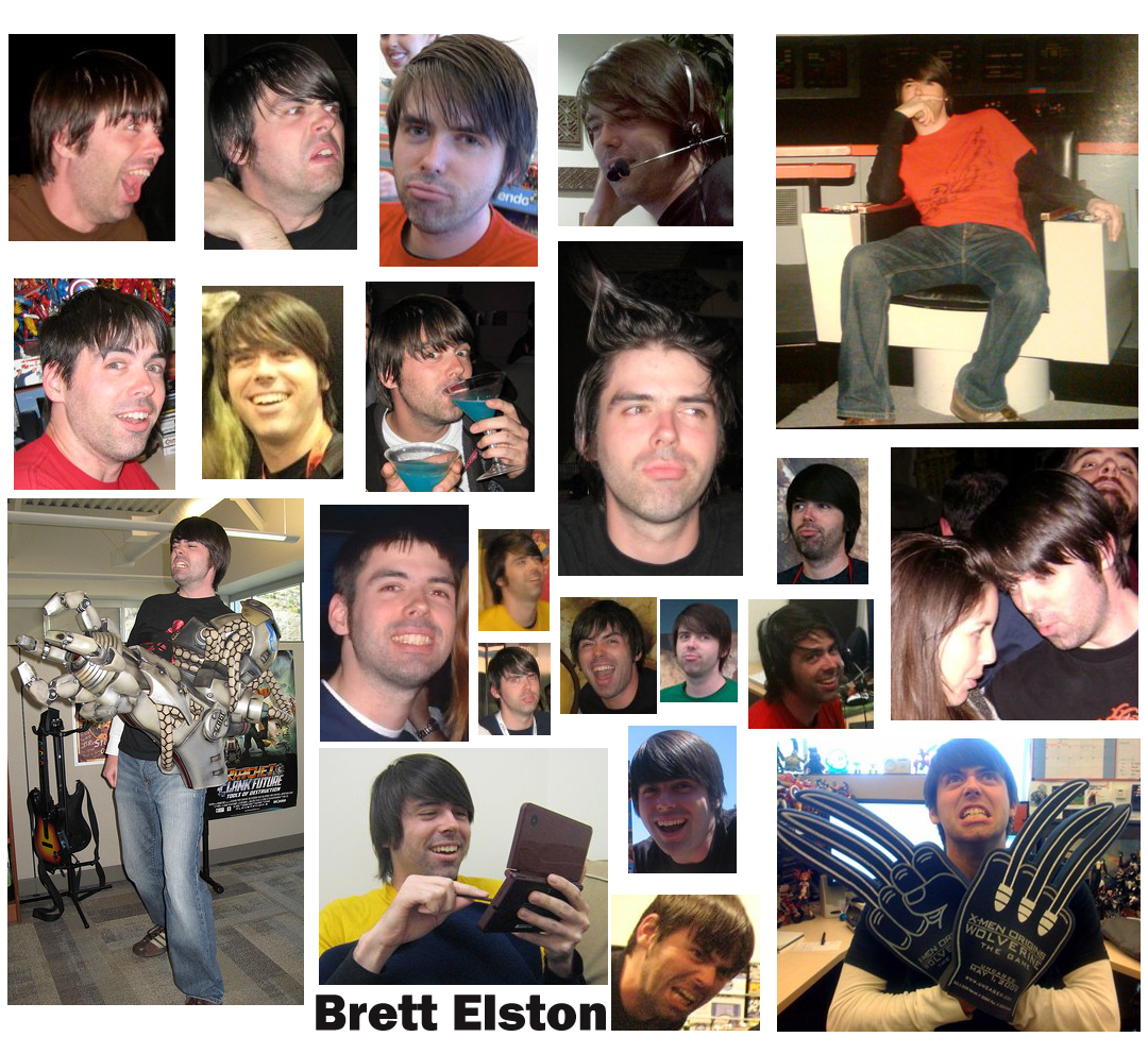 When not mugging for the camera, some of Brelston's many achievements include (clockwise from top right): captaining a Federation starship, becoming a part of the Weapon X project, getting all the panels in Puzzle Swap before Nintendo released a new one, finding true love in his left arm, stealing Gargamel's formula for drinking Smurfs, and becoming Cameron Diaz's boyfriend.