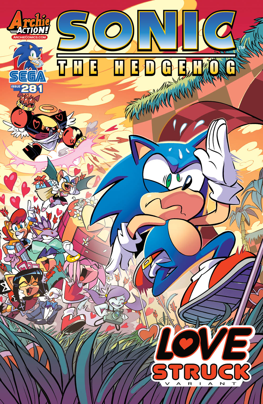 This variant of  Sonic  #281 was supposed to be out on 2/10 for Valentine's Day, but #279 is currently slated for 2/24.
