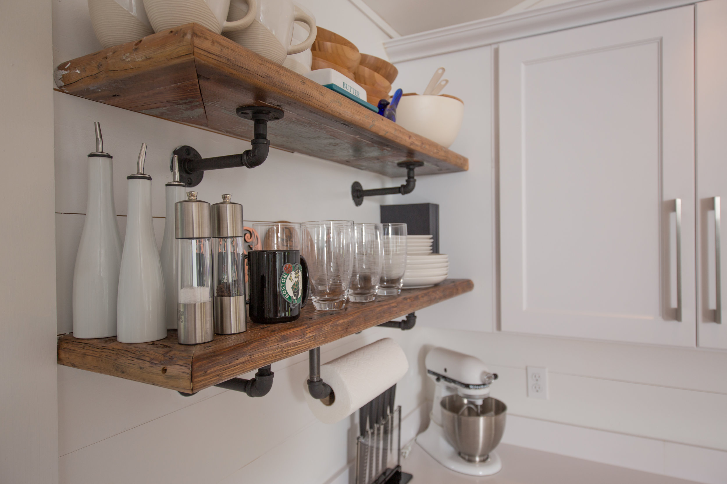 Rustic - reclaimed wood shelves from the local mills
