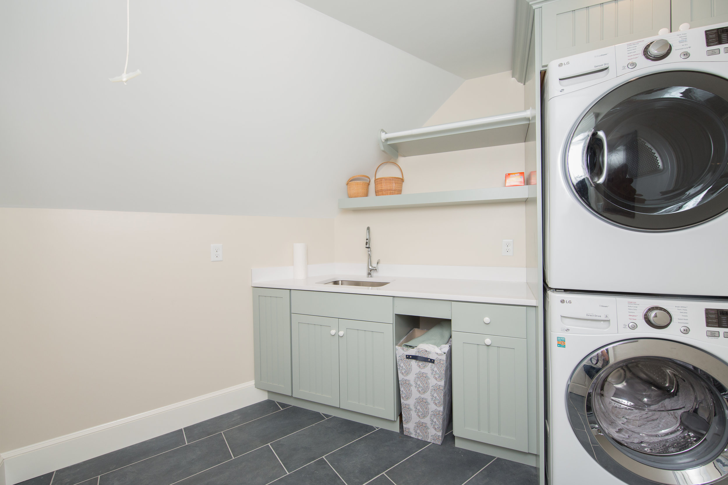 The laundry room is a great example of Plain N' Fancy's custom color option! -