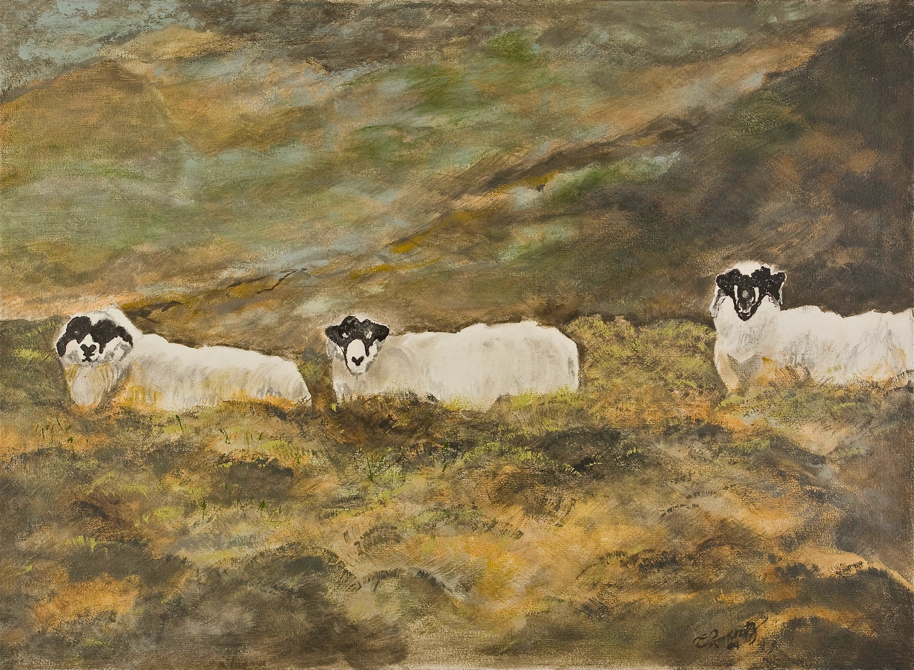 "3 Sheep  – Acrylic on canvas (24"" x 36"")   Sold"