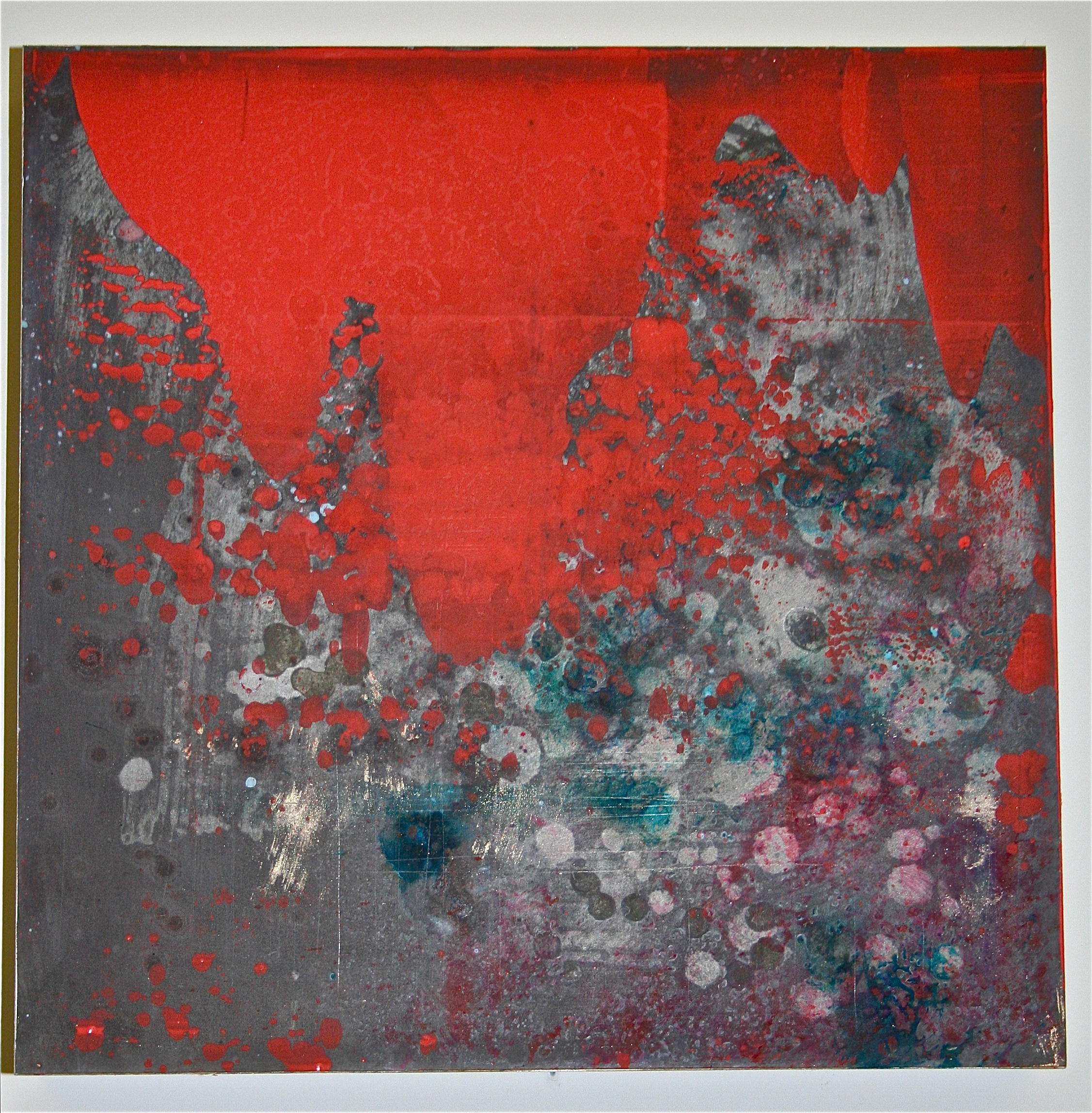 "Red Reaction 1  – Chemicals & pigment on metal (12"" x 12"")   Sold"