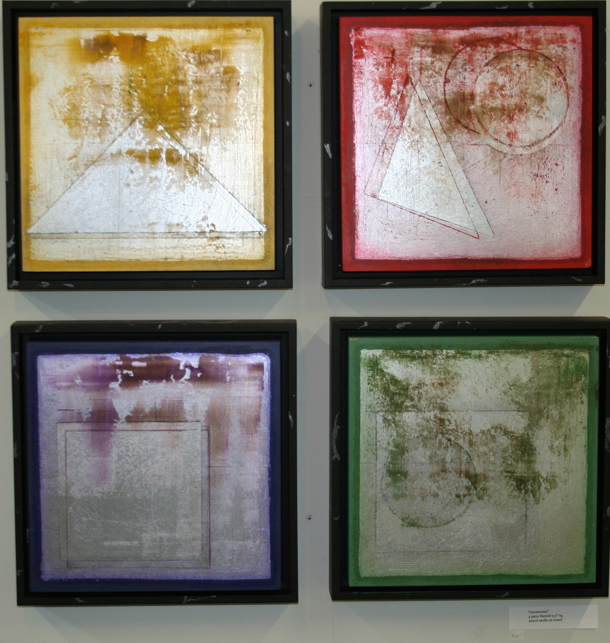"Geometries -  Mixed medium on board in floater frame  (4 pieces 13.5""x13.5"" each)   Sold"