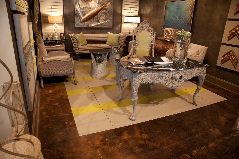 Finish on desk at Pettigrew Showroom, Dallas Texas  Hand painted floor cloth - Sold
