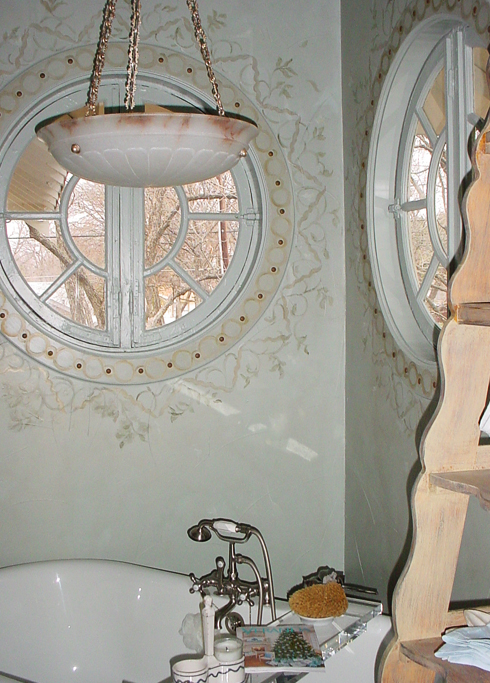 Custom hand painted pattern around bathroom window
