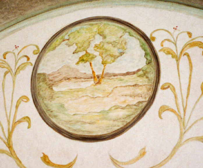 Detail from painting in barrel vaulted ceiling of dining room