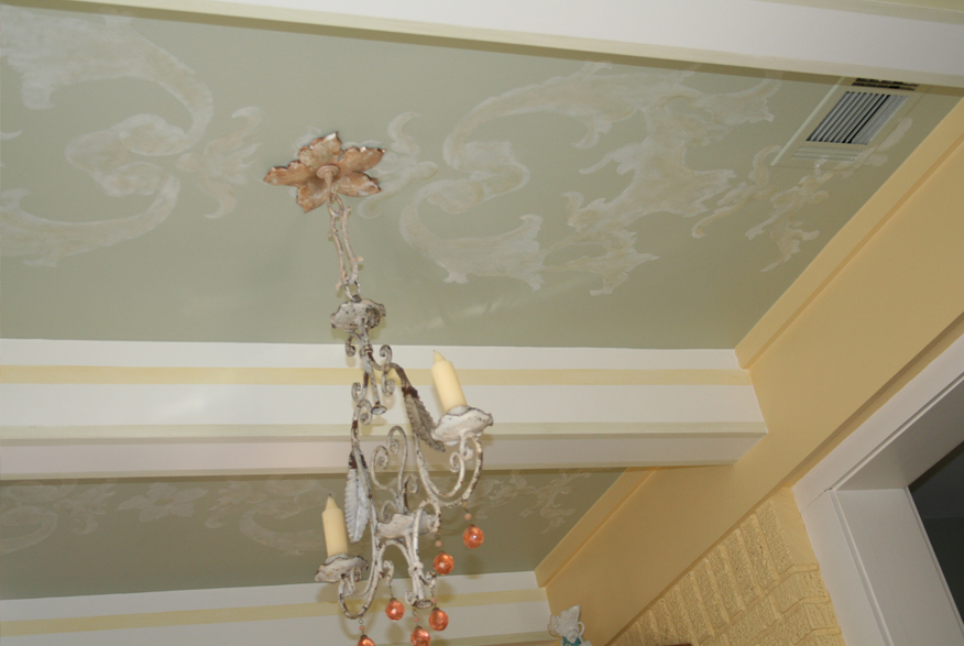 Custom designed hand painted ceiling pattern