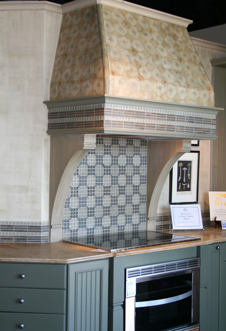 Custom designed painted patterns for kitchen