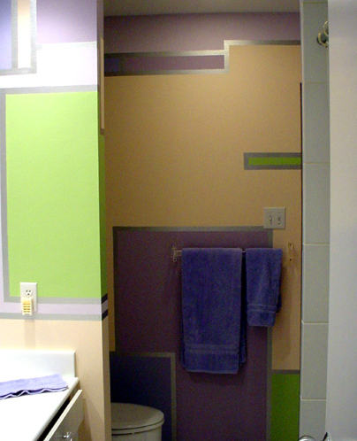 Custom designed wall finish for bathroom