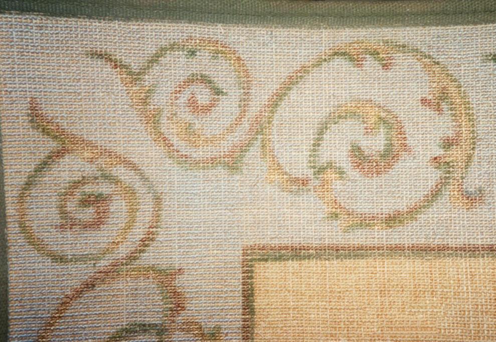 Hand painted pattern on sisal rug