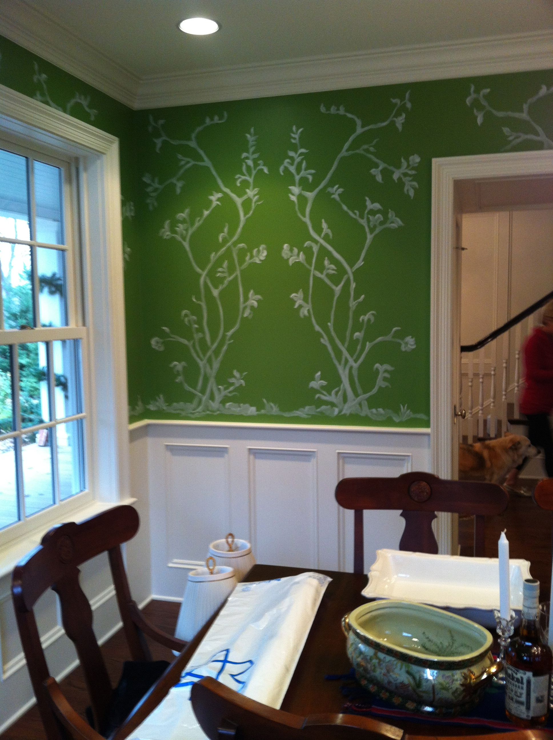 Custom designed and painted scene for dining room