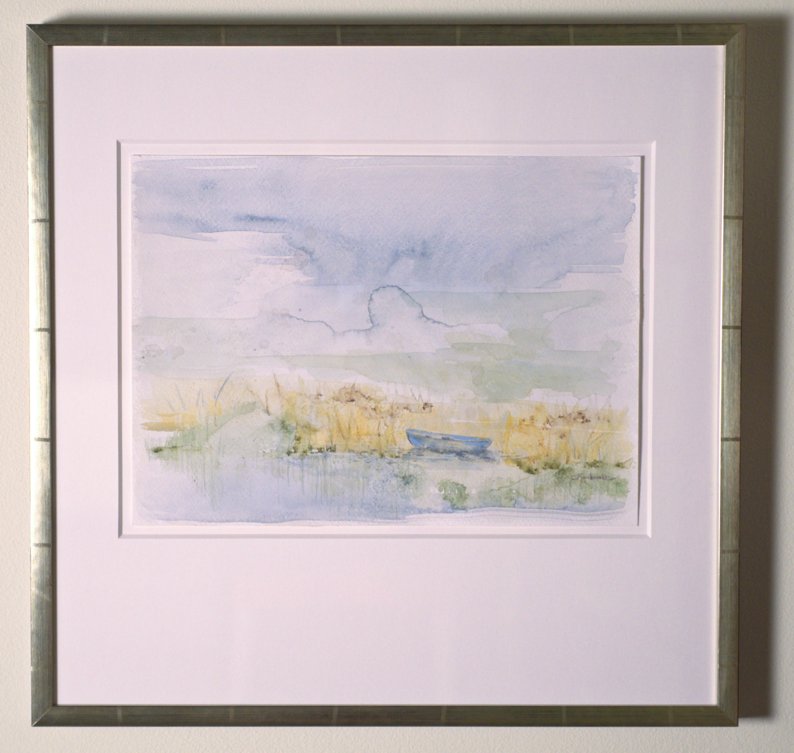 "Solitude Blue - watercolor on paper (11""x15"") framed"